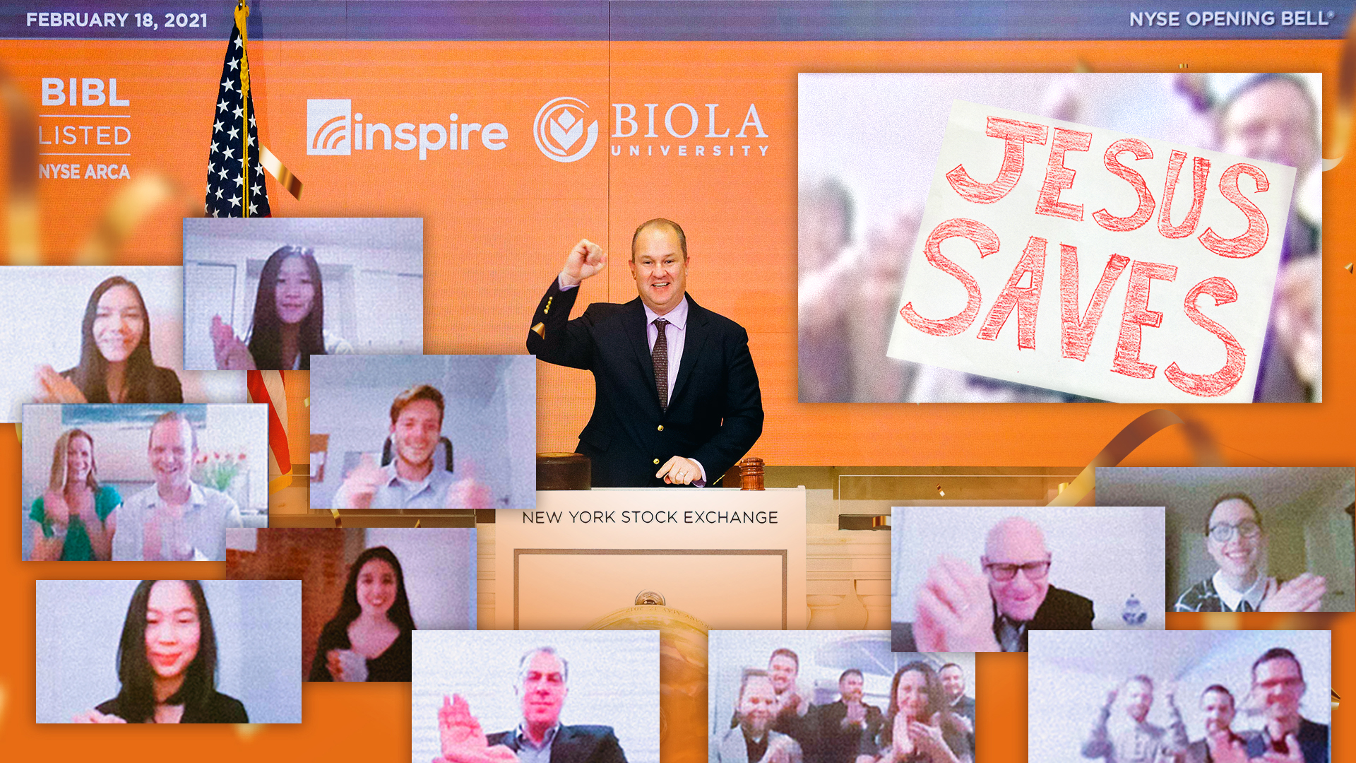 """""""Jesus Saves"""" On Display As Inspire Investing and Biola University Ring NYSE Opening Bell"""
