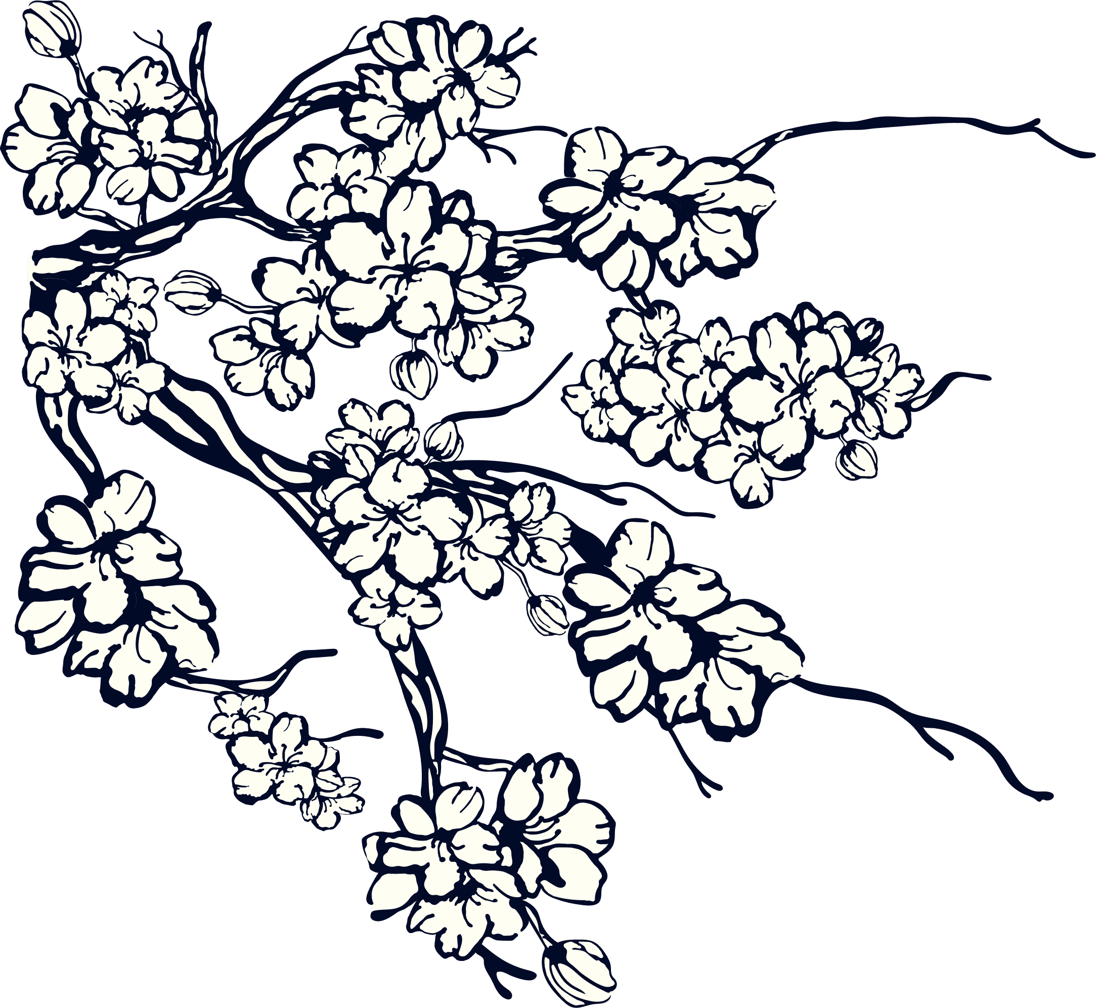 Smaller Stanley's Chelsea lower right illustrated branches with navy blossom