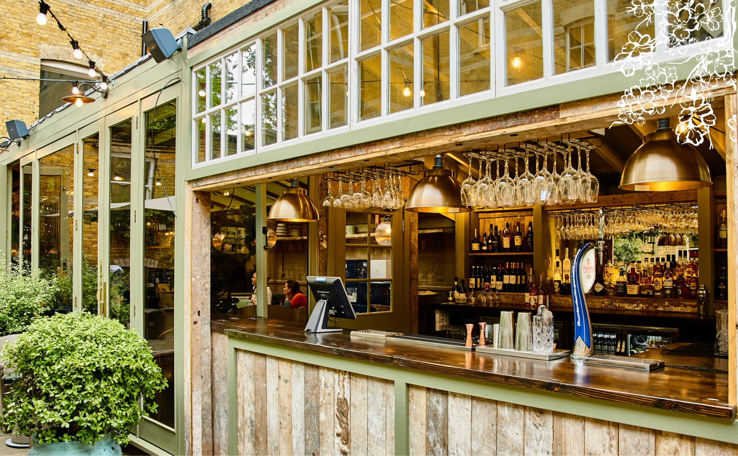 The courtyard bar at Stanley's Chelsea