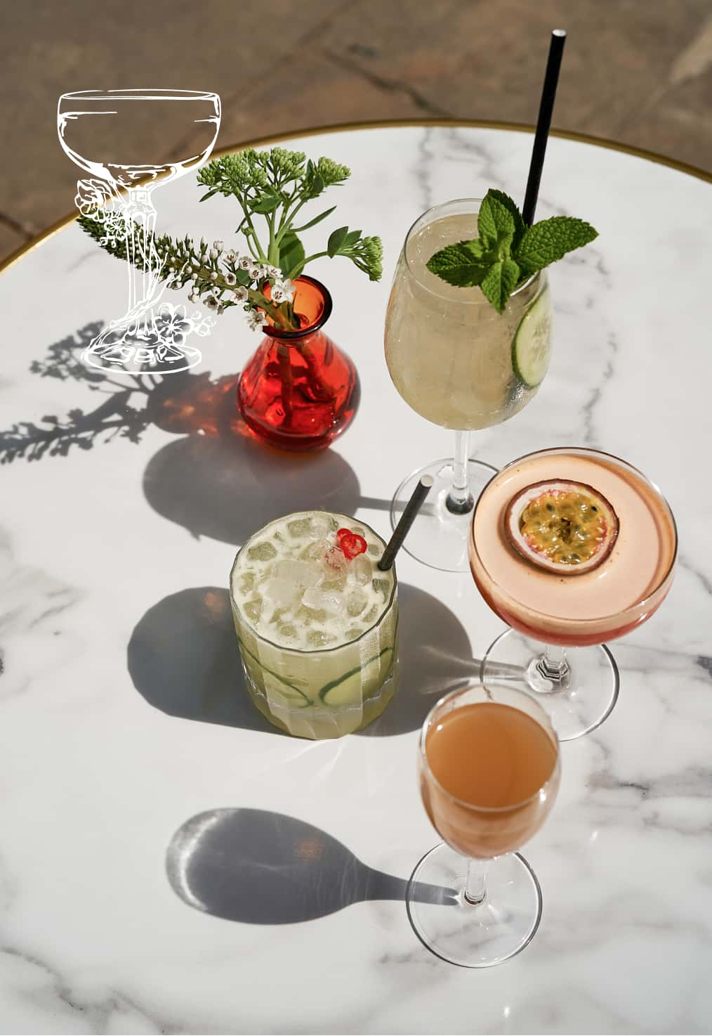 A selection of drinks and Whispering Angel Rose at The Courtyard Bar at Stanley's Chelsea