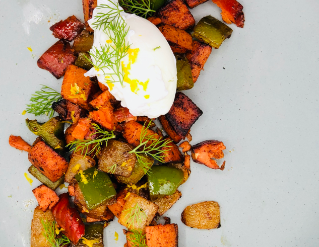 Eva's Wild Smoked Salmon and Sweet Potato Breakfast Hash
