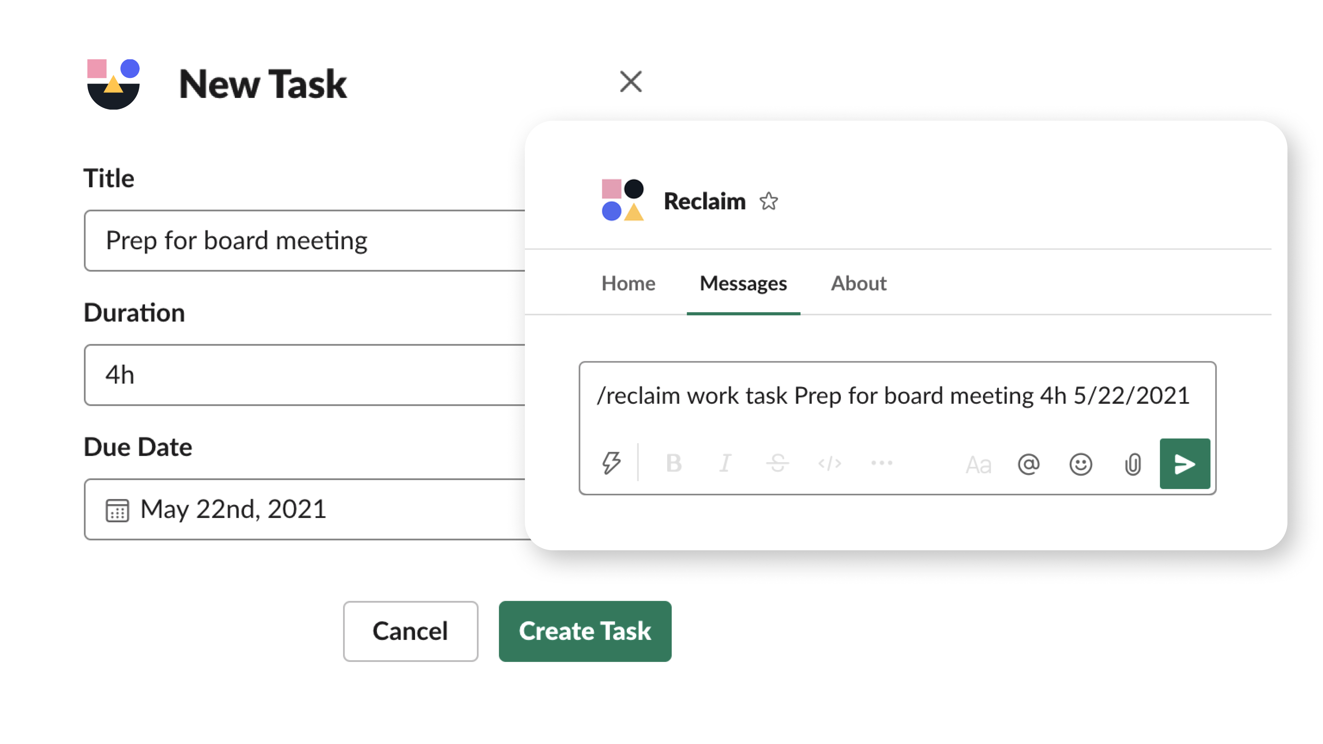 Add Tasks directly from Slack