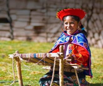 Peruvian Girl with Loom