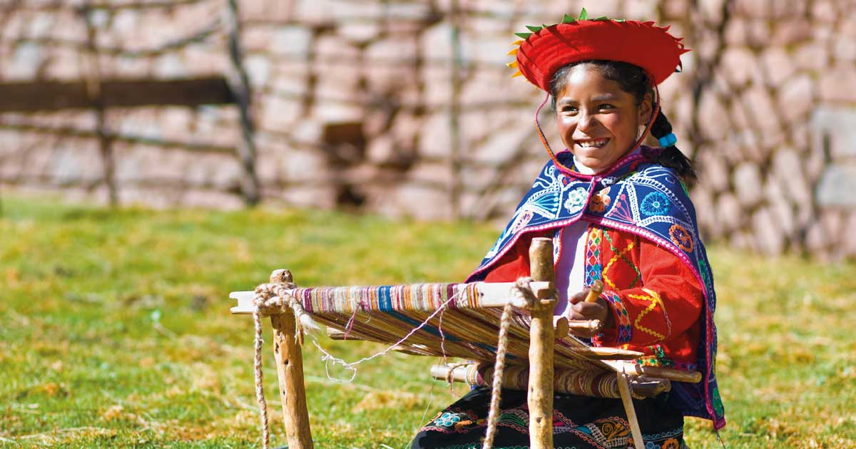 Peruvian Girl with Loom