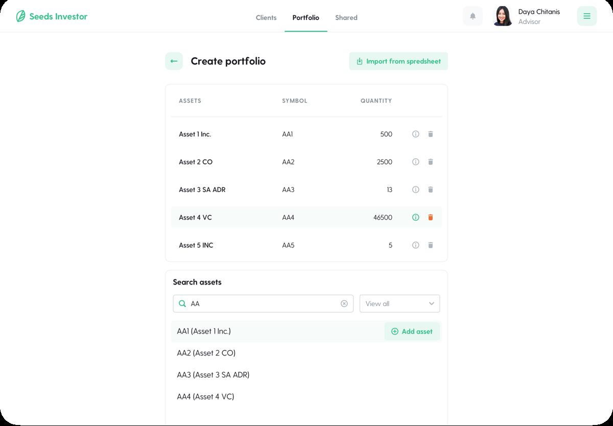 An advisor portfolio view of the Seeds Investors platform.