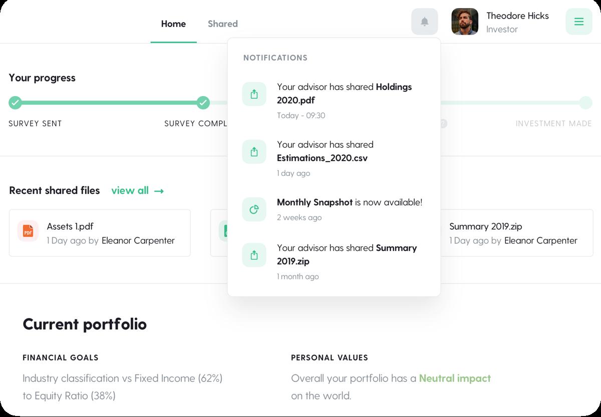 Investor dashboard view of the Seeds Investors platform.