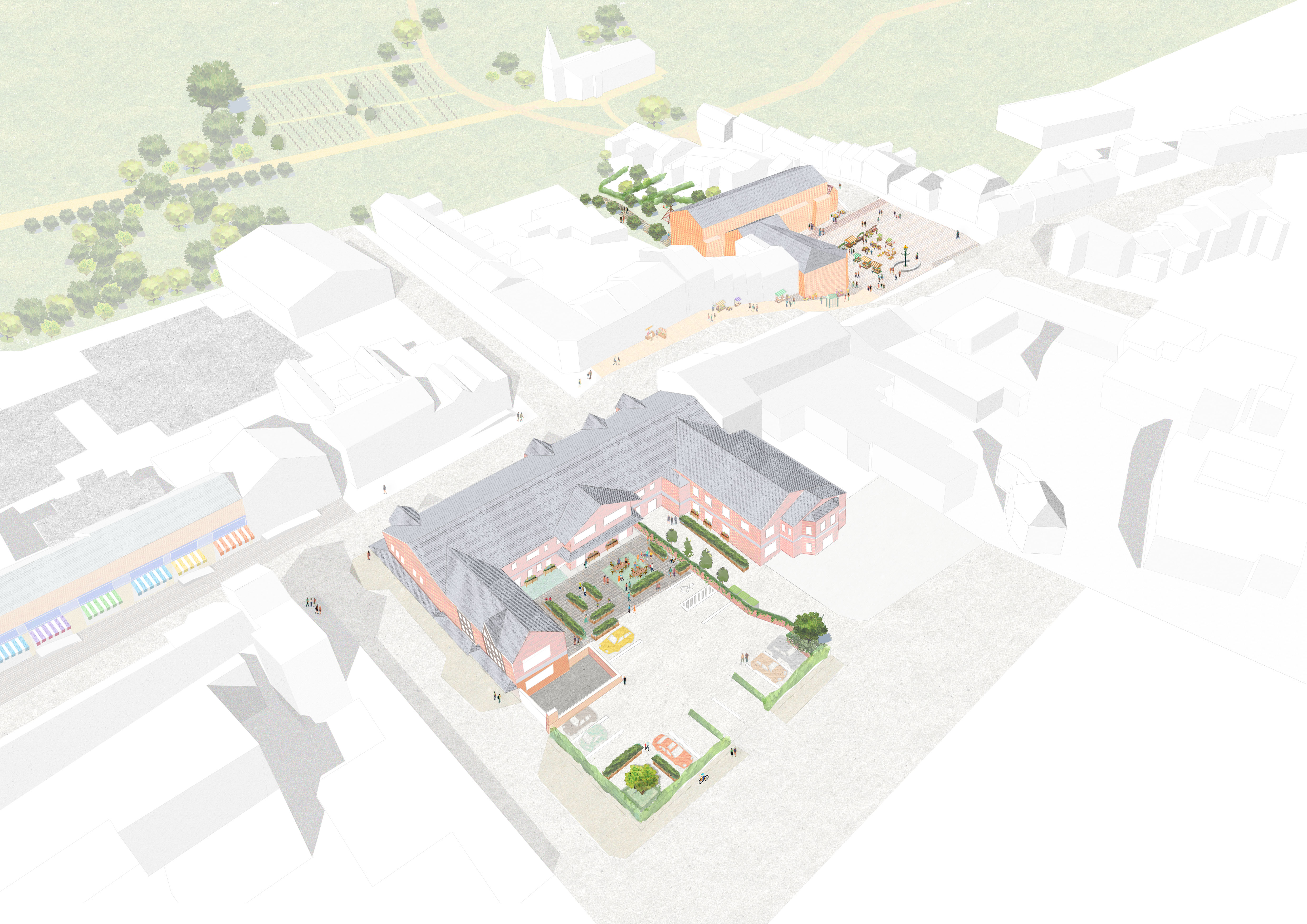 Aerial view of proposal for Kirkgate Centre, Market Square and shopfront improvements