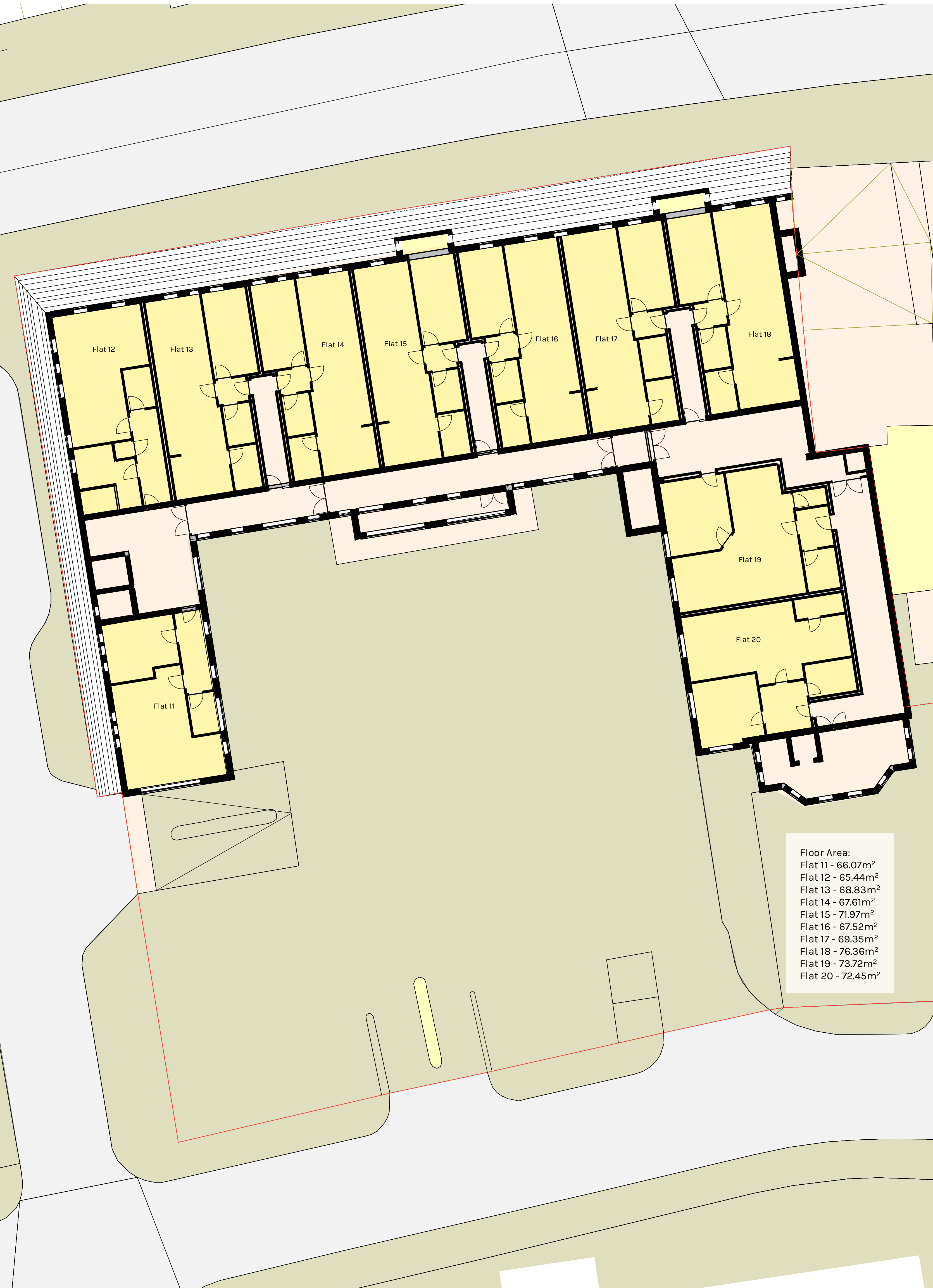 Proposed upper ground floor plan of Kirgate Centre for residential accommodation