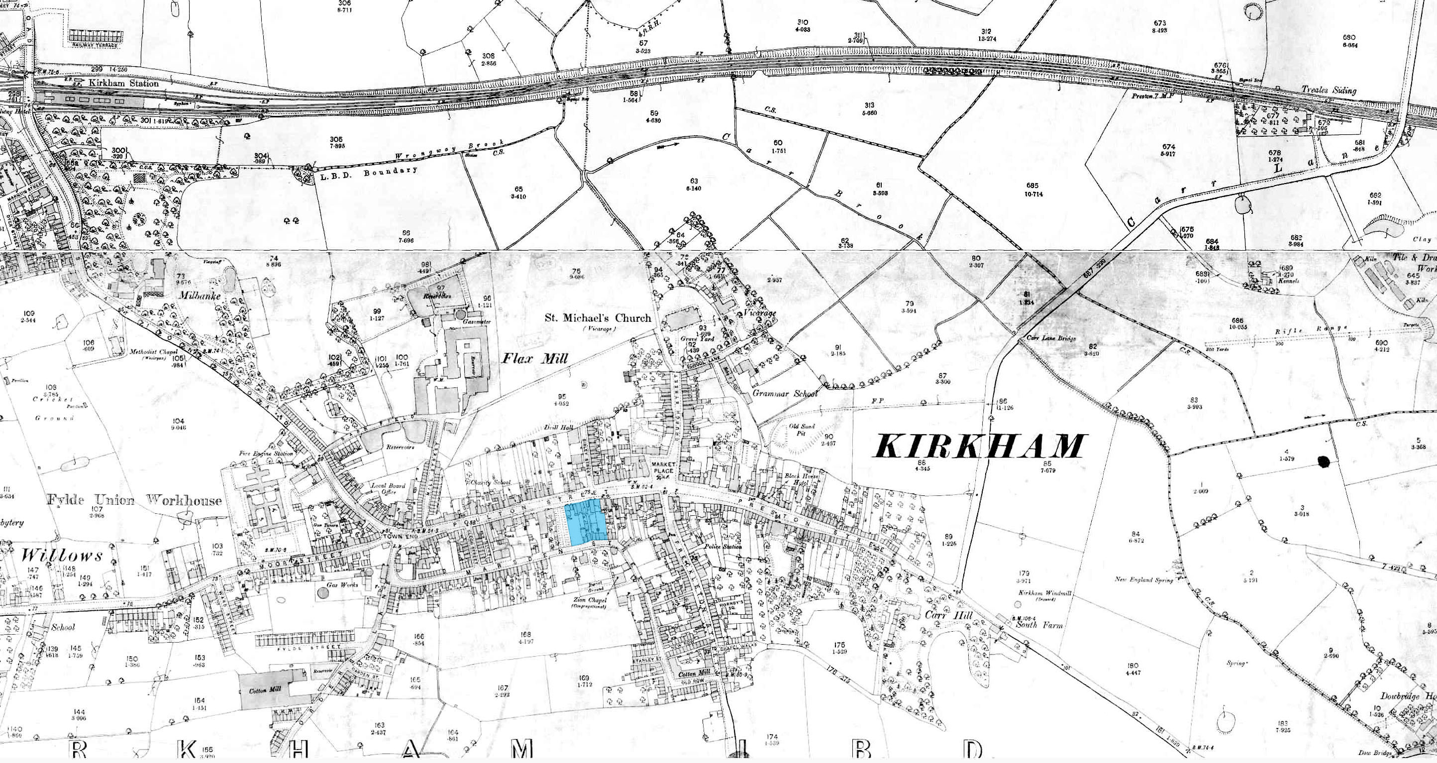 Historical location plan of Kirkgate Centre in 1890