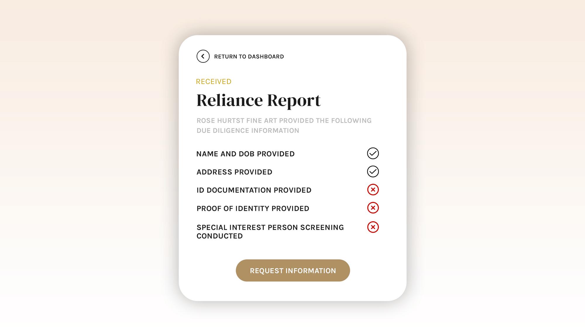 reliance report checklist