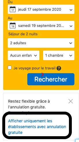 Conseil 5 - politiques d'annulation flexibles sur Booking.com