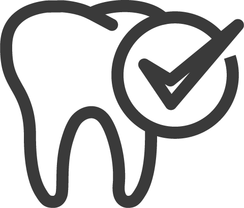 tooth with check mark icon