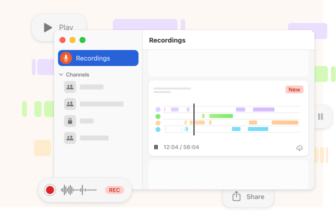 Stork user interface example for team channels and voice call recordings