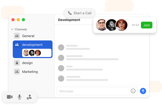 Stork user interface example for team channels, voice calls, and other features inside the Stork desktop app