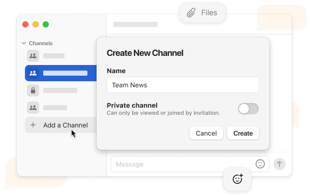 Stork user interface example for team channels