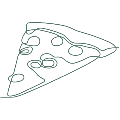 Line drawing of a pizza