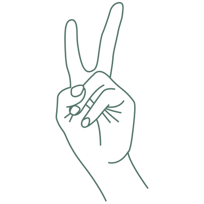 Line drawing of fingers making a peace sign