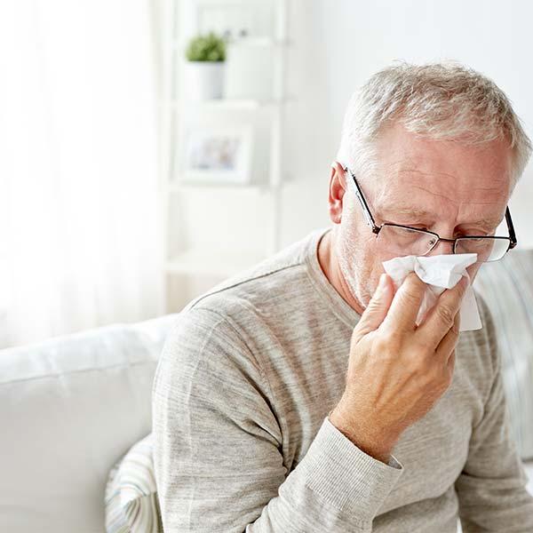 Senior gentleman with allergies