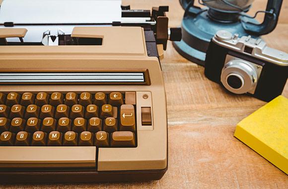 Old Typewriter and camera