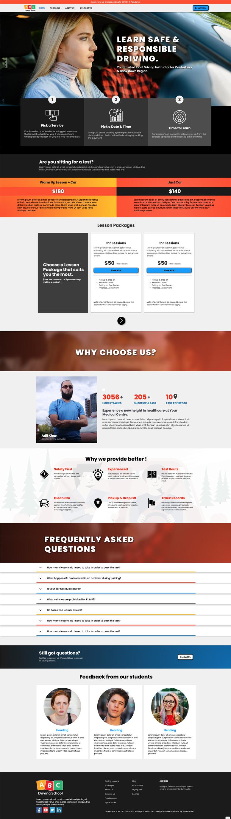 "Snapshot of ""Bookie"" demo website of a booking website."