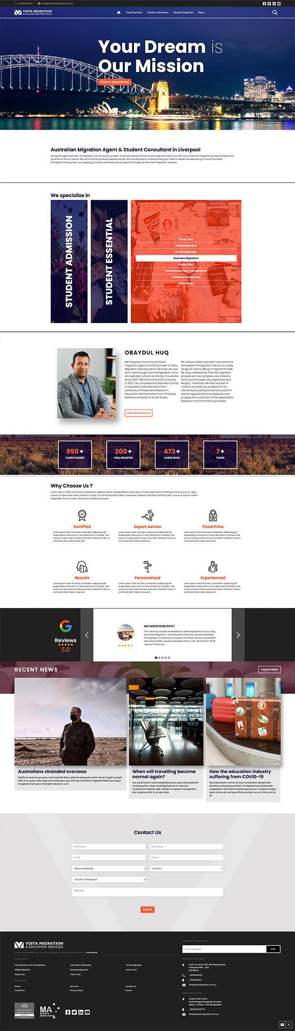 Web design of Vista Migration and Education Services.