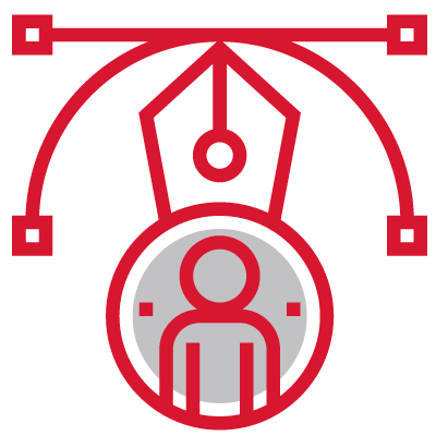 a user profile picture in the middle surrounded by adobe illustrator style vector point handles with the bezier tool curve handle being hovered on by the pen tool logo