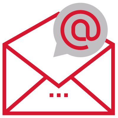 a large halfway open mail envelope with an at symbol in a speech bubble coming out of it