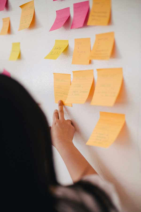 employees placing sticky notes on a whiteboard mapping out services and features for seo, ppc, social media, web design, web development, content creation, and markerting automation