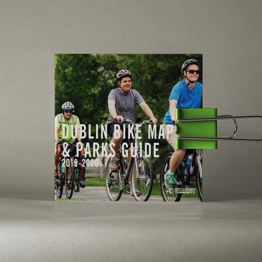 image of front cover of a printed bike map done for the city of dublin ohio