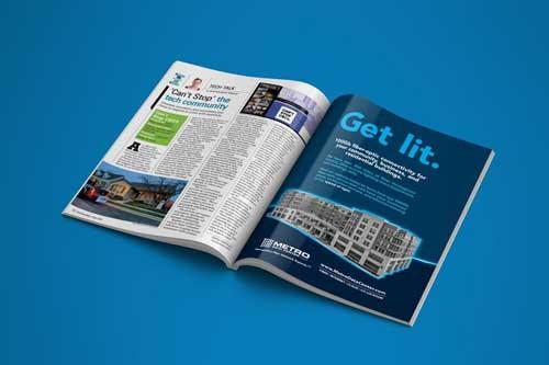 Magazine print design piece for Metro Data Centers a Division of DartPoints in Columbus, Ohio