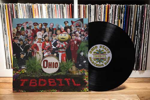The Ohio State University Marching Band print design piece and record cover in the style of the Beatles Sgt. Pepper