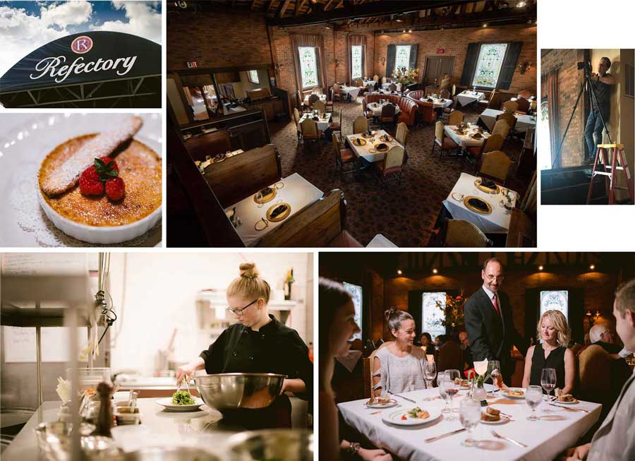 collage of images from a Robb McCormick photo shoot at the Refectory Restaurant in Columbus, Ohio