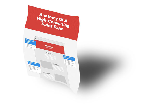 "mockup of the ""How to Design a Successful Sales Page"" white paper on a curvy piece of paper with a dropshadow"