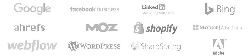 Google, Facebook Business, LinkedIn Marketing, Bing, Ahrefs, Moz, Shopify, Microsoft, Webflow, Wordpress, Sharpspring, and Adobe Logo Bank - decoration