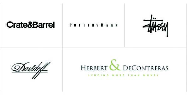 text logo examples - crate and barrell, potterybarn, davidoff and more