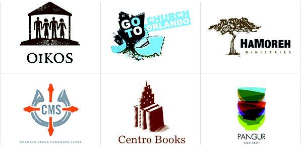 illustrative logo examples - centro books, hamoreh ministries, goto church orlando and more