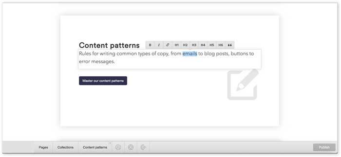 editing text in cms editor screenshot