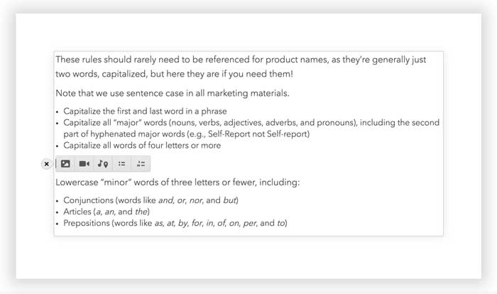 rich text element options in cms editor screenshot