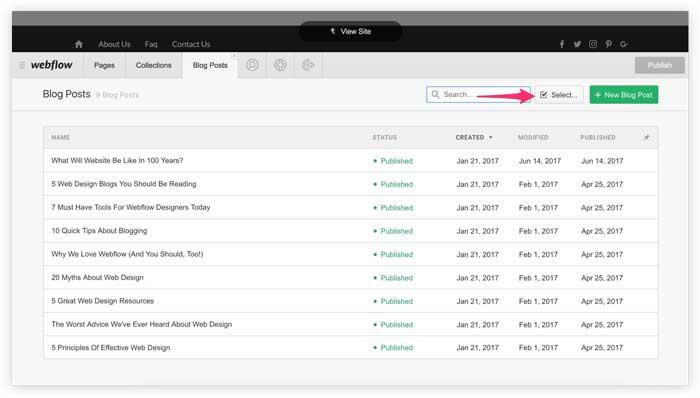 bulk selecting cms items screenshot