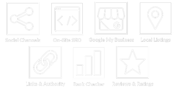icon sprite image for: social channels - onsite seo - google my business - reviews & ratings - local listings - rank checker - links & authority