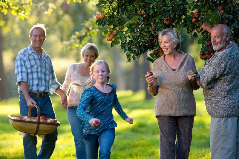 family near fruit tree