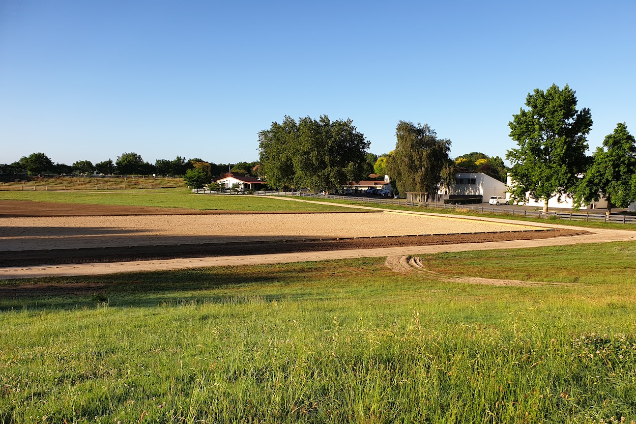 Completed St Peters School competition dressage arena and training track with contouring completed