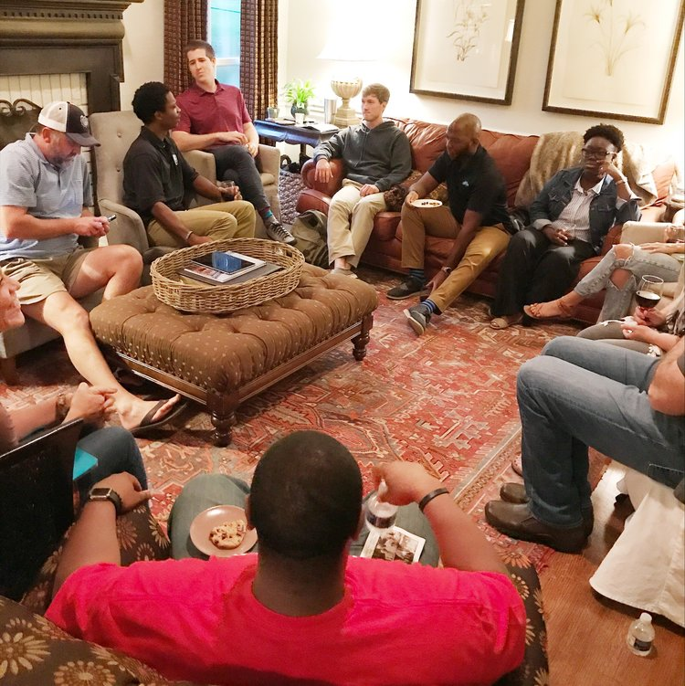 InSpero's Bridge Builders gather to discuss the difficult topic of our city wounds and racial inequity and how the artist can respond. Photo by Lucy Farmer