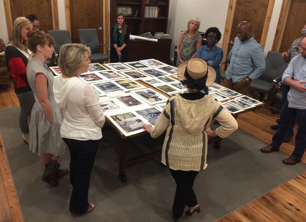 Recent Bridge Builders meeting discussing Vicki Hunt's social injustice images
