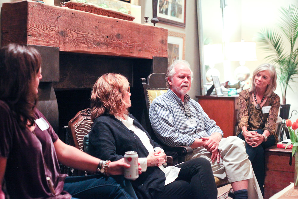 """Gina Hurry, Andi Ashworth, Steve Garber, and Nancy Carroll discussing a life """"implicated for love's sake."""" Photo by Charity Ponter"""