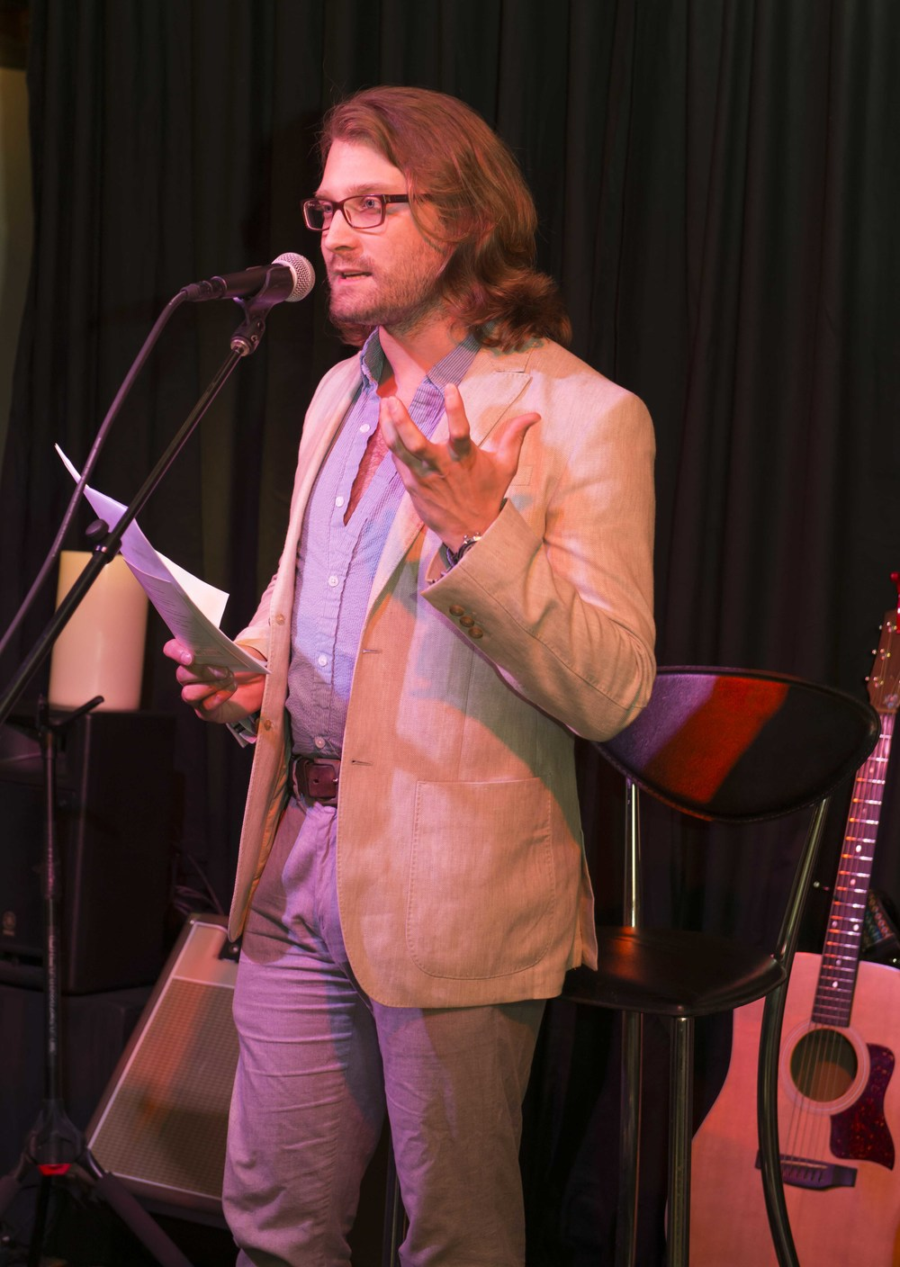 Nathan Klose, poet and emcee (and semi-wild man), for the evening.