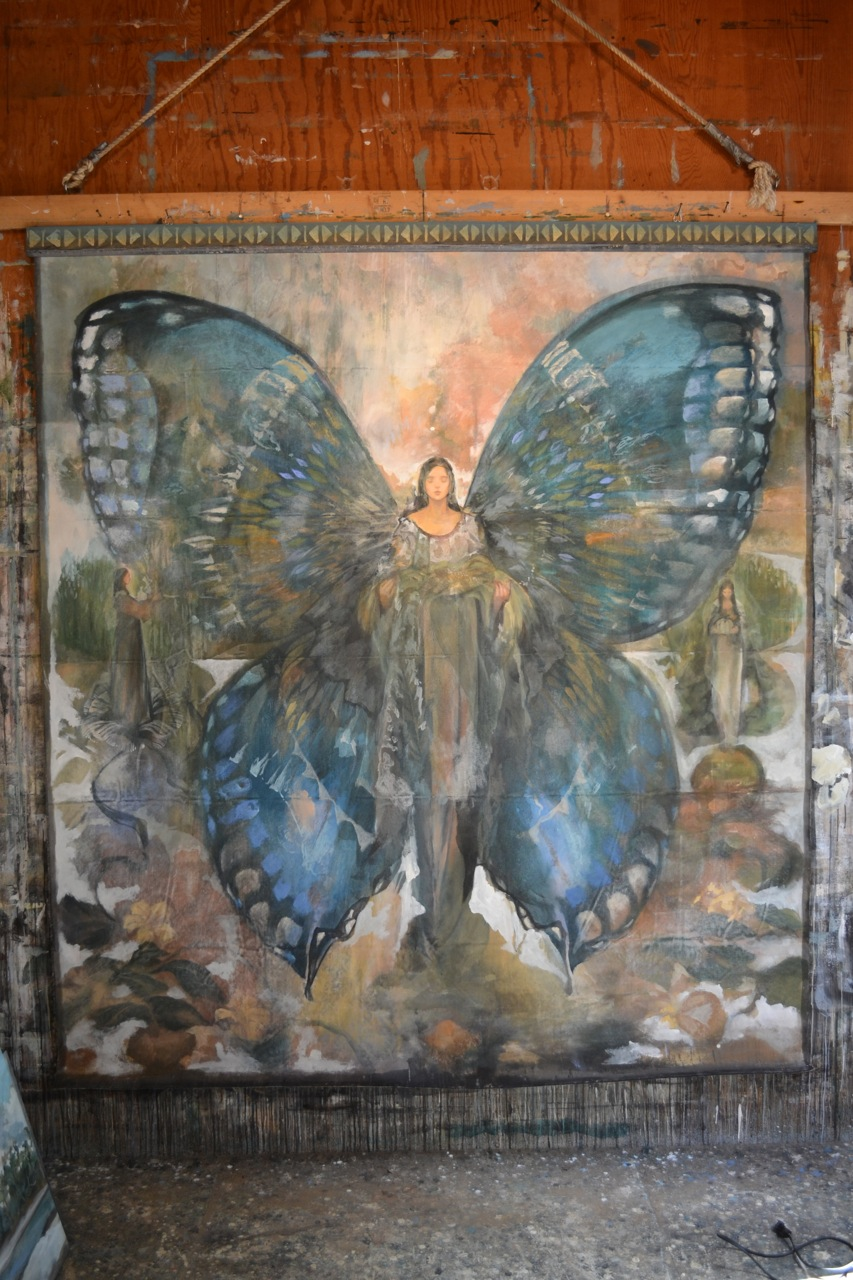 Artist: Arthur Price, Buterfly Cosmos and the Three Sisters