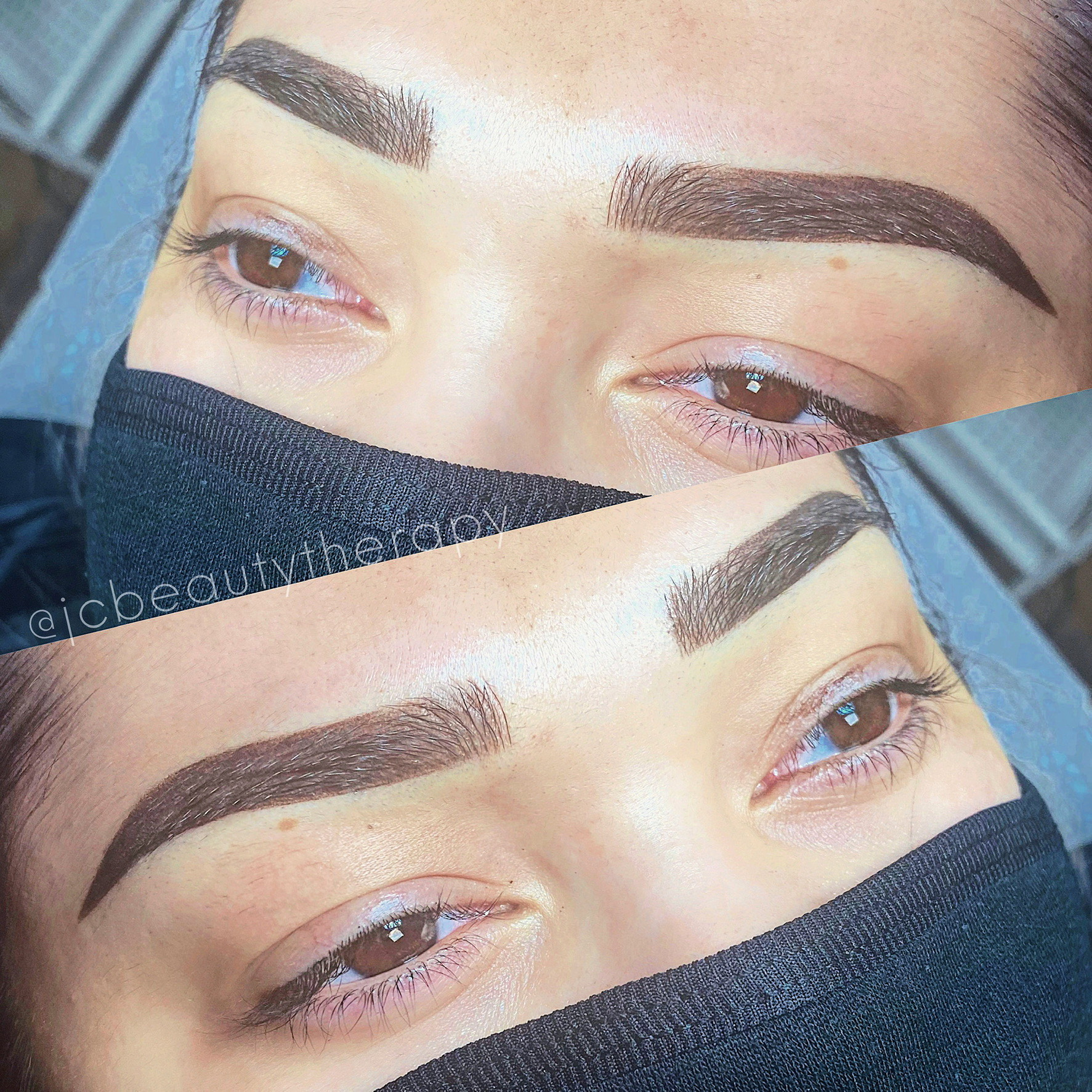before and after view of brow work