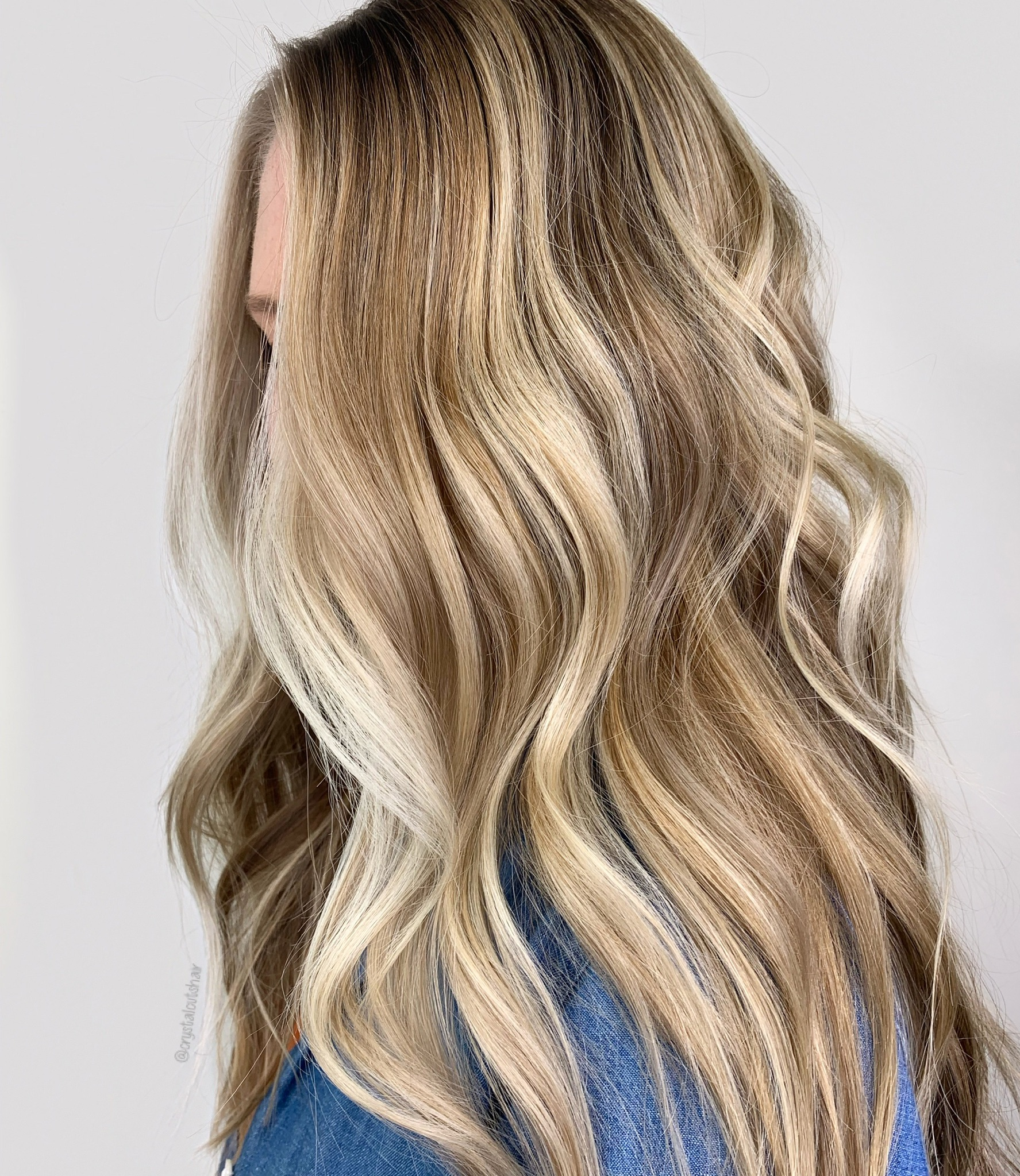woman with cascading blonde hair