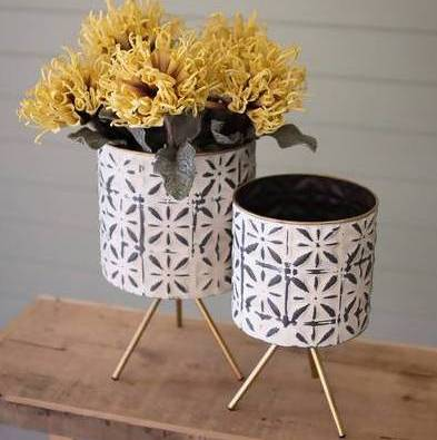 Metal planters with stands from Industrial Luxury